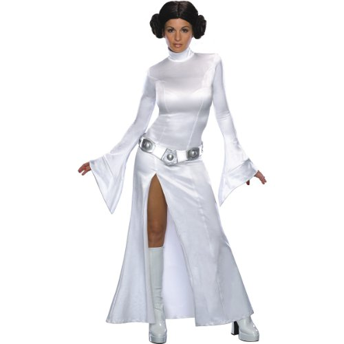 Princess Couple Costumes (Rubie's Women's Star Wars Princess Leia Costume and Wig, White,)