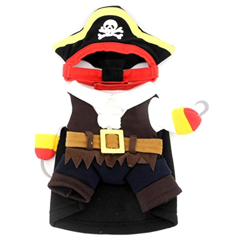 SMALLLEE_LUCKY_STORE Funny Cat Halloween Costume Pirate Costume Pet Outfits Puppy Holiday Clothes Size S]()