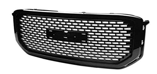 Square Mesh Grille for GMC Yukon/Yukon XL | 2015 2016 2017 2018 | Denali Style Glossy Black ABS | by JX Accessories ()