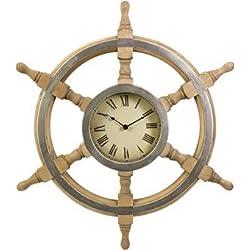 Wood Ship Wheel Clock in Rustic