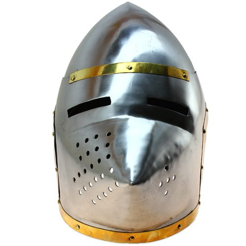 (Late Middle Ages Pigface Bascinet Helmet Armor - Historical Functional Replica)