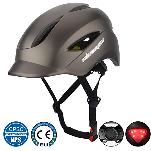Shinmax Bike Helmet, Bicycle Helmet CPSC&CE Certified with LED Light for Urban Commuter/Cycling/Mountain/Road Adjustable Size for Adult Men/Women