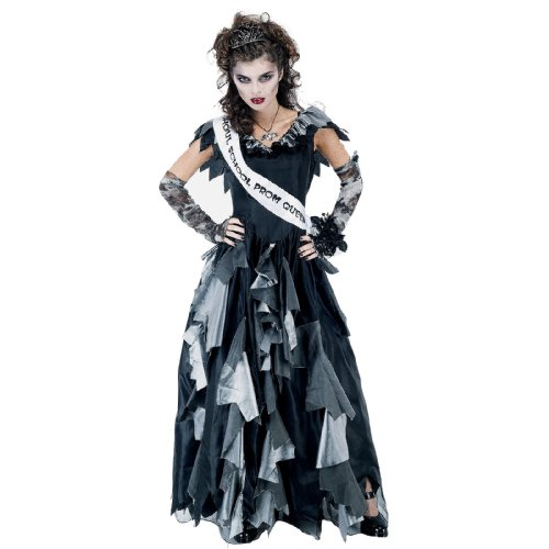 [Paper Magic Zombie Prom Queen-2 Costume, Black/Gray, One Size] (Black Magic Woman Costume)
