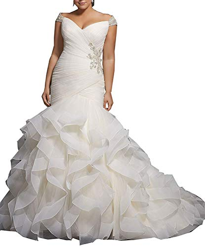 QueenBridal Women's Mermaid Wedding Dress Plus Size Wedding Gowns for Bride Cap Sleeve Beaded Bridal Gowns QU62 White