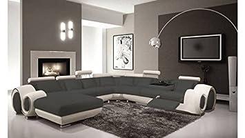 mobilier nitro Sofá Piel panorámica Fresno Gris/Blanco ...