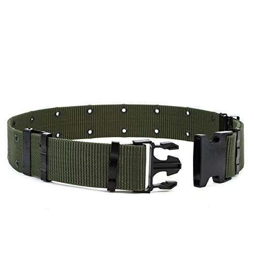Men's Outdoor Military Style Tactical Belt Security Adjustable Utility Buckle,Green - Green Tactical Utility Belt