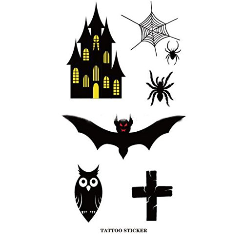 Makeup Props 10pcs Halloween Theme Spider Bats Castle Horror Tattoos Transfer Stickers 10.5x6cm