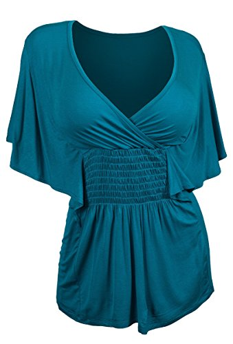 eVogues Plus Size Slimming V-neck Smocked Empire Waist Top Teal - (Flutter Sleeve Empire Top)
