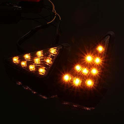 luces indicadoras de 12 V Eurotri/ángulo luz amarilla 2 luces LED de /ámbar para motocicleta luces indicadoras de montaje a prueba de humo