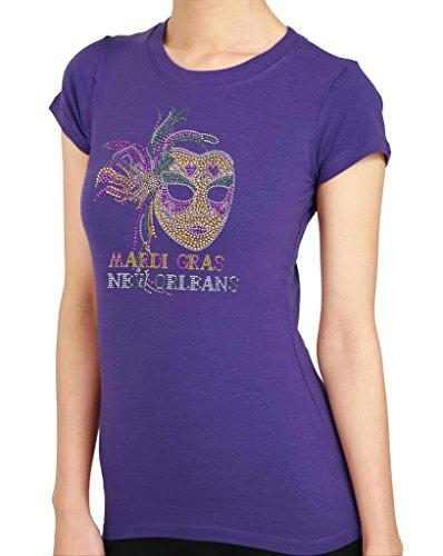 MARDI GRAS FEATHER MASK New Orleans HANDMADE Rhinestone/stud Womens T-Shirts