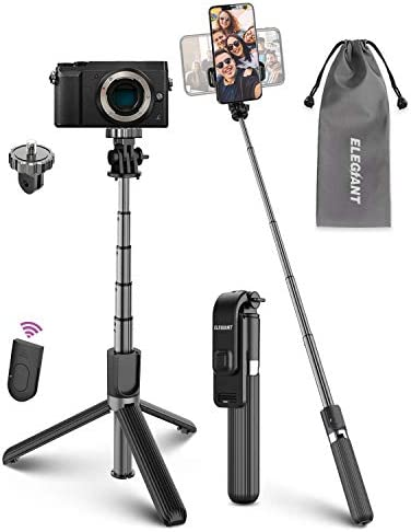 Selfie Stick Tripod, ELEGIANT Lightweight Aluminum All in One Extendable Selfie Stick Bluetooth with Remote Compatible with iPhone 11/11PRO/XS Max/XS/XR/8P/7P, Galaxy S20/S10/S9S8, Gopro, Small Camera