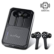 #LightningDeal ? 240H Playtime? HolyHigh True Wireless Earbuds Bluetooth 5.0 Earphones with 5000mAh Charging Case Built-in Mic Waterproof Bluetooth Headphones with Wireless Charging Power Bank for iPhone Android