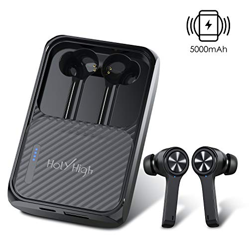 HolyHigh Bluetooth Earbuds Bluetooth 5.0 Wireless Earphones with 5000mAh Charging Case Built-in Mic IPX5 Waterproof Bluetooth Headphones with Wireless Power Bank for iOS Android