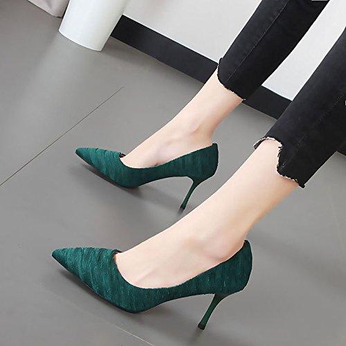 Xue Qiqi high-heel Schuhe Damenschuhe Mädchen fein mit Damenschuhe Schuhe und grün schwarz licht Düsenspitze einzelne Schuhe vielseitig Die grüne 1a96a4