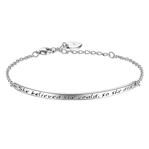 Billie Bijoux 925 Sterling Silver Women Engraved Inspirational Adjustable Bracelet
