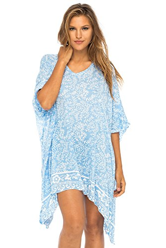 - Back From Bali Womens Beach Swimsuit Cover up Dress Caftan Floral Short Poncho Bun Blue