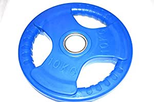 Rubber Solid Weight plate 10 kg Blue Colour fits Olympic Barbell