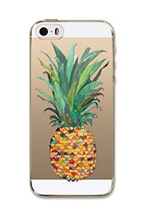 iPhone 7 , Colorful Rubber Flexible Silicone Case Bumper for Apple Clear Cover - Pineapple Crush