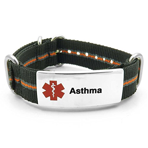 IDtagged Asthma Black, Grey & Orange Adjustable Nylon Medical Alert ID Bracelet w/ Polished Stainless Steel Tag