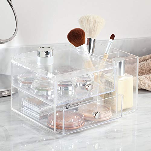 InterDesign 2-Drawer Plastic Vanity Organizer, Compact Storage Organization Drawers Set with 2 Side Compartments for Cosmetics, Dental Supplies, Hair Care, Bathroom, Dorm, Desk, Countertop, Office 6.5