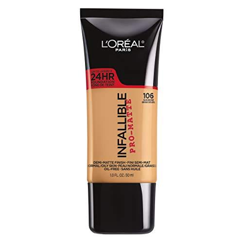 L'Oréal Paris Infallible Pro-Matte Liquid Longwear Foundation Makeup, 106 Sun Beige, 1 fl. oz.