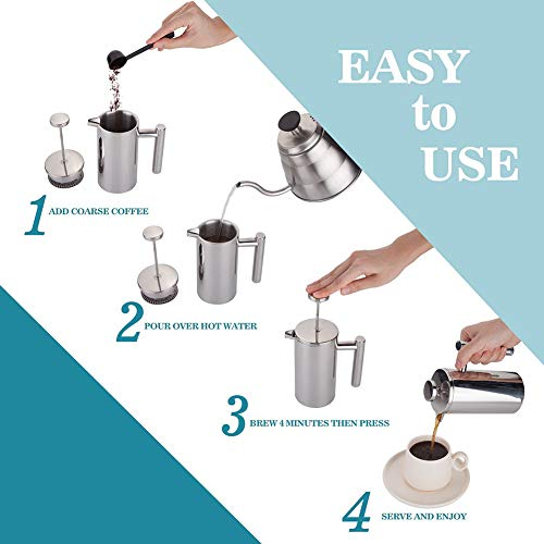 Stainless Steel French Press Coffee Maker,Double Walled Insulated Coffee & Tea Brewer Pot & Maker,Keeps Brewed Coffee or Tea Hot (350mL)