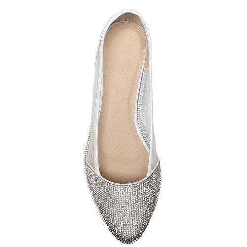 Damen Flach Spitz Strass Rand Gittergewebe Abend Ballerina Schuhe Pumps Größe Weiß Netz