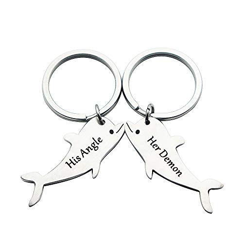 Boyfriend Husband Gift His and Hers Couple Keychain Set Kiss Dolphin Romantic Valentine Gifts for Girlfriend - Kiss Pendant Boy