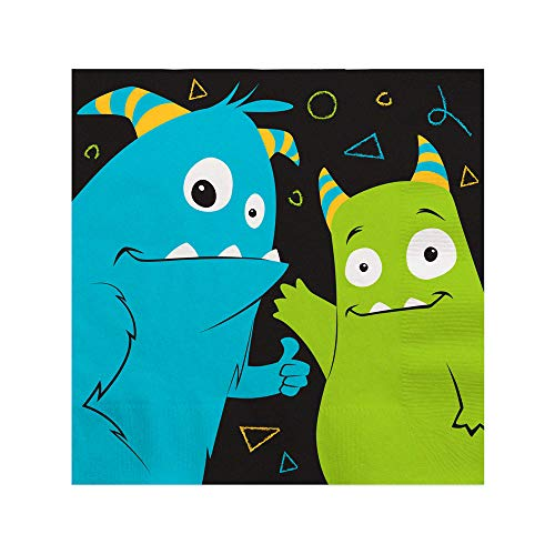 Monster Bash - Little Monster Birthday Party or Baby Shower Cocktail Beverage Napkins (16 Count)
