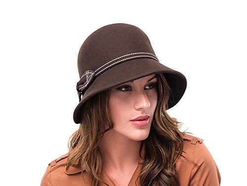Marron avec Cloche Vintage en laine Chapeau Maisie