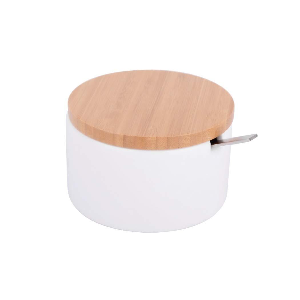 KOOK TIME PRODUCTS Zuckerdose aus Keramik mit Deckel aus Bambus wei/ß