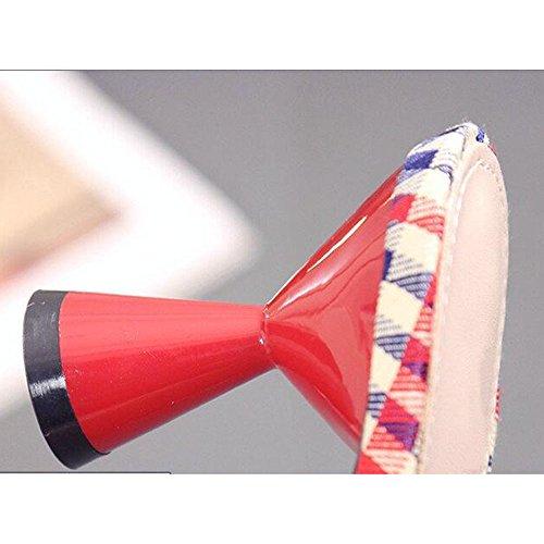 Sandali a a da tallone punta punta alto Pantofole a vino punta con Bicchieri XIAOLIN inizio con Estate Pantofole Pantofole Baotou Pantofole tacco 01 retina primavera Pantofole Colore stile forma spillo Ht4qwZ45W