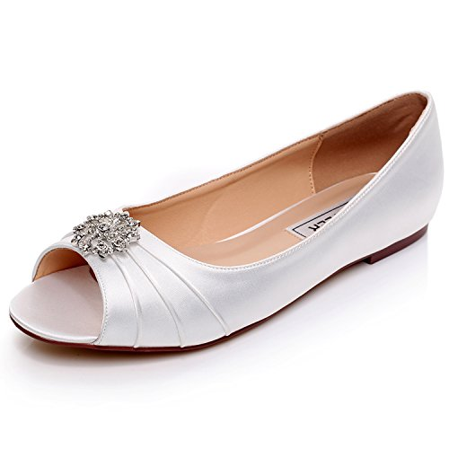 LUXVEER Ivory Women Shoes Flats Peep Toe,RS-9804-IVORY-EU41