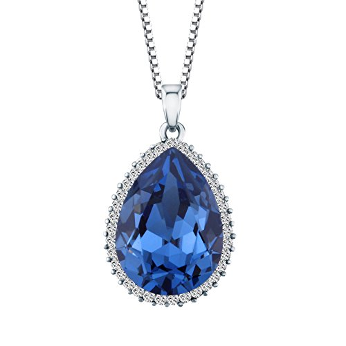 Sapphire Diamond Drop Necklace - JO'SYJSP The Deep Ocean 14K Platinum Plating Water Drop Design Necklaces Made with Swarovski Crystals, Graduation Gifts