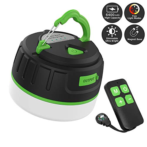 Sinvitron LED Camping Lantern Rechargeable/Power Bank 6400mAh, Portable USB Camping Tent Light W/Remote Control, Magnet Base, Dimmable, 5 Light Modes for Emergency, Hurricane, Power Outage (Green)