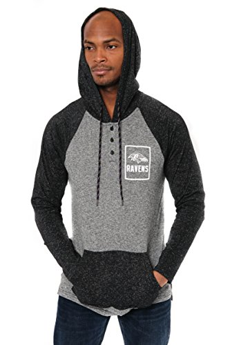 ICER Brands Adult Men Fleece Hoodie Pullover Sweatshirt Henley, Team Color, Black, Large