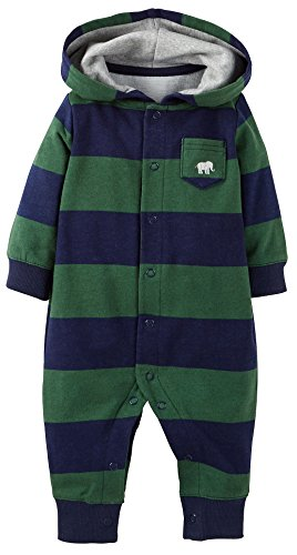 Carters Baby Boys Stripe Rugby Hooded Jumpsuit 6 Month Green/navy