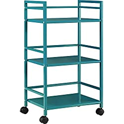 Ameriwood Home Marshall 3-Shelf Metal Rolling Utility Cart, Teal Finish