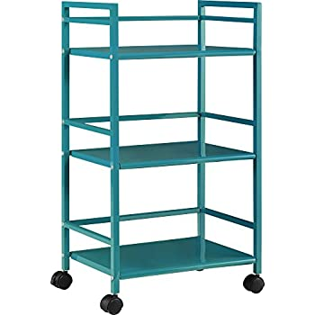 Ameriwood Home Marshall 3 Shelf Metal Rolling Utility Cart, Teal