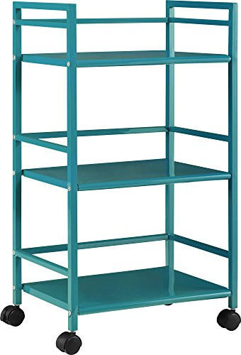 - Ameriwood Home 7741396PCOM Marshall 3-Shelf Metal Rolling Utility Cart, Teal