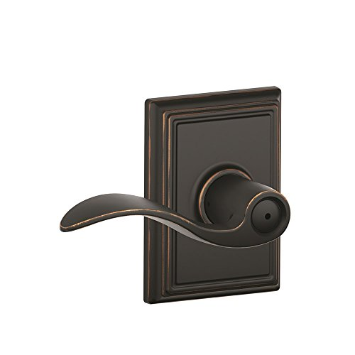 Schlage F40ACC716ADD Addison Collection Accent Privacy Lever, Aged (Bronze Addison Button)