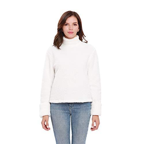 (Women's Tops Fleece Warm Women's Long-Sleeved Turtleneck Pullover (Large, White))