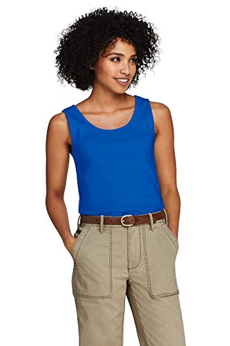 Lands' End Women's Tall Cotton Tank Top Vibrant Blue