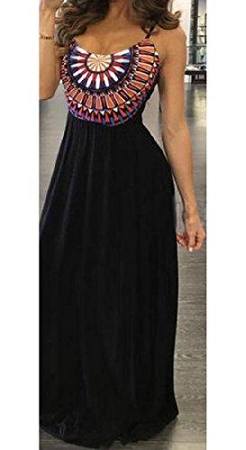 Coolred Femmes Réservoir Maxi Backless D'impression Géométrique Élégante Robe Noire