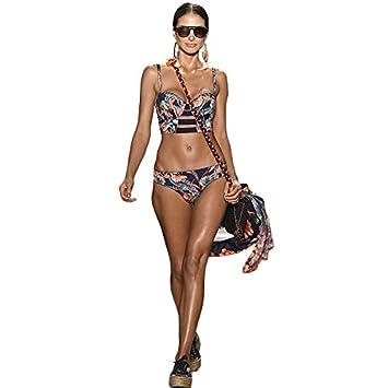 WDDBJN Bikini/Womens Bandage Print Set Sujetador con Relleno Push-up Swimsuit Swimwear Pluz