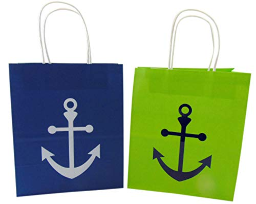 Anchor Gift Bag Pack Nautical Theme Green and Blue Present Bags, Set of 2