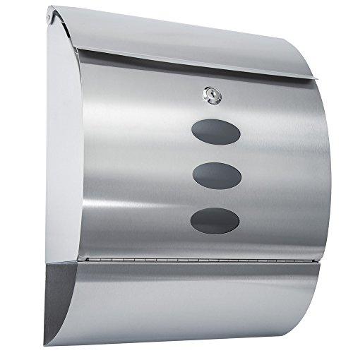 TecTake® Designer Edelstahl Briefkasten mit Zeitungsröhre