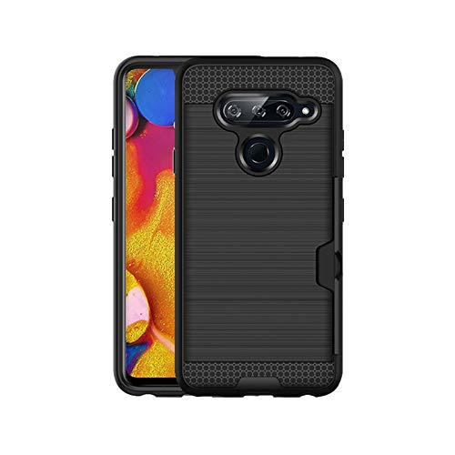 (Wallet Case Fit LG V40 ThinQ, Card Holder Case Shock Absorbing Detachable 2in1 Dual Layer Stripe Hybrid Heavy Duty Armor Rugged Protective Hard Back Cover Case Compatible LG V40 ThinQ 2018 (Black))