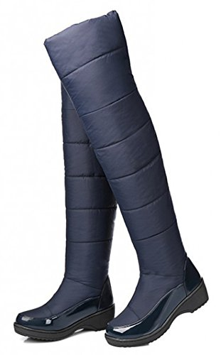 Wedge Blue Boots High Winter IDIFU Comfy Booties Womens Thick Snow Over Fur Knee Mid Heels Faux Lined gYTpwqg