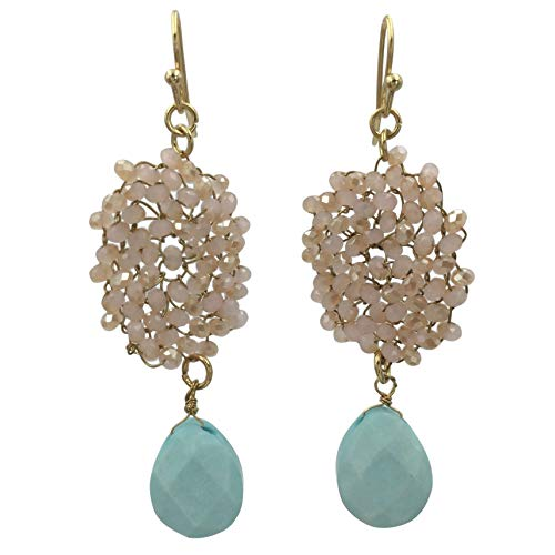 Abstract Glass Bead Wire Cluster Handmade Swing Dangle Boutique Style Earrings (Light Pink & Mint Green)